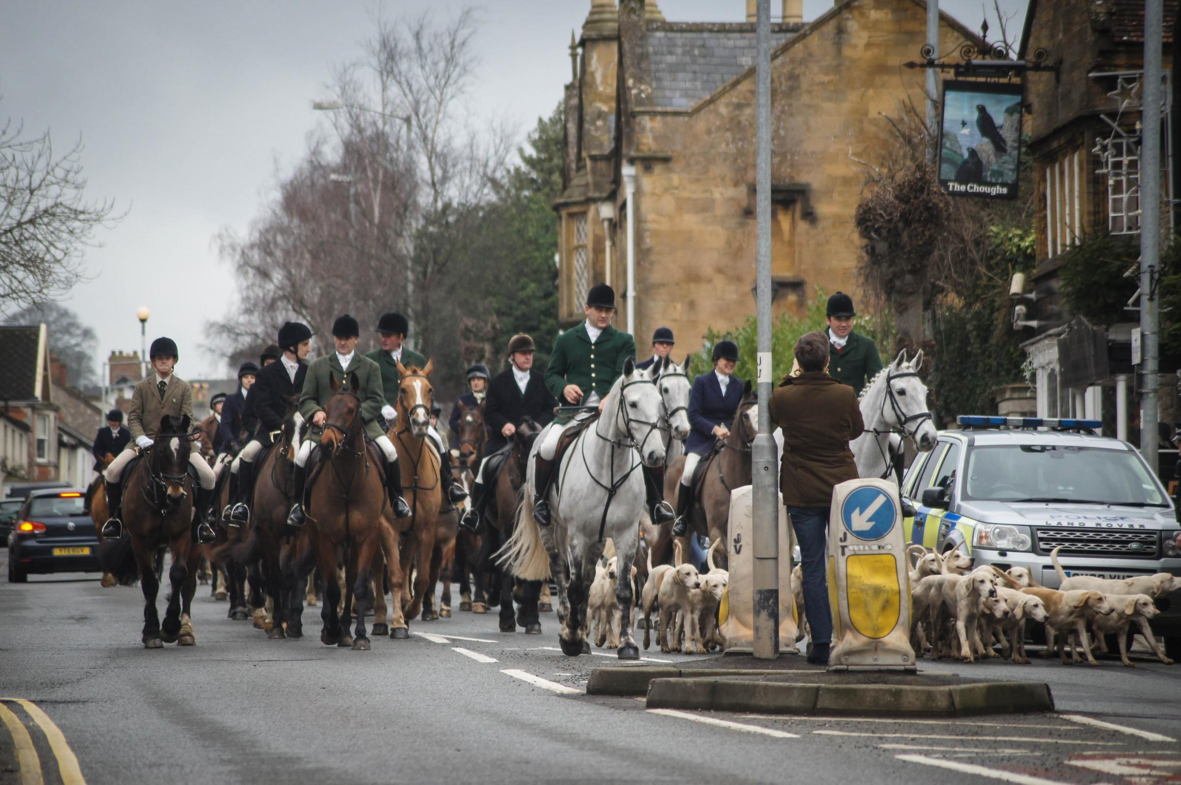 ON THE HUNT: Cotley Harriers riders gathered for the Boxing Day hunt