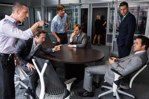 Left to right: Jeremy Strong plays Vinnie Daniel, Rafe Spall plays Danny Moses, Hamish Linklater plays Porter Collins, Steve Carell plays Mark Baum, Jeffry Griffin plays Chris and Ryan Gosling plays Jared Vennett in The Big Short from Paramount Pictures a