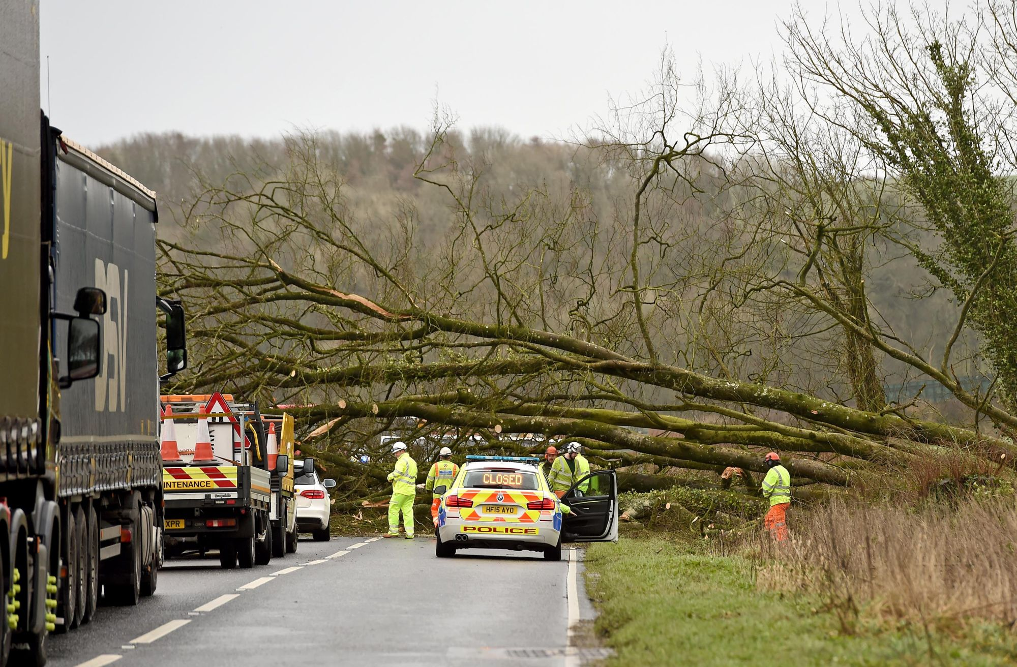 TRAFFIC: A fallen tree is blocking the road from Bampton to Wiveliscombe