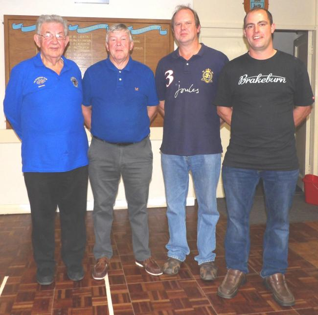 THROUGH: Pictured, from left – Ron Piper, Viv Pring, Paul Mills and Alistair Bussells were the Sampford Peverell Captain's Cup semi-final qualifiers.