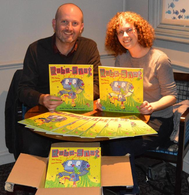 SNEEZING ROBOTS: Tiverton author Amy Sparkes and Exeter illustrator Paul Cherrill with new book Robo-Snot