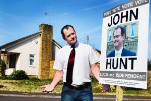 DEFACED: John Hunt's posters have been drawn on