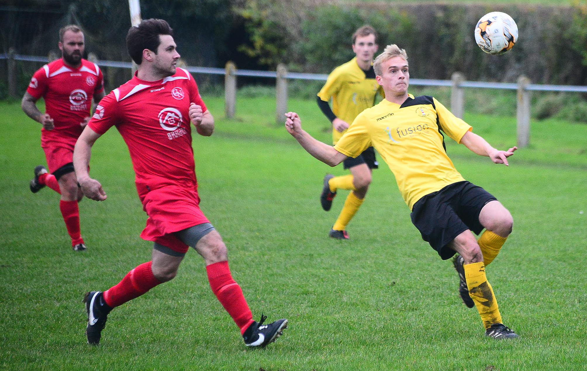 IN VAIN: Joe Selway (pictured in yellow) was on target for Burnham United against Nailsea & Tickenham. Pic: Steve Richardson