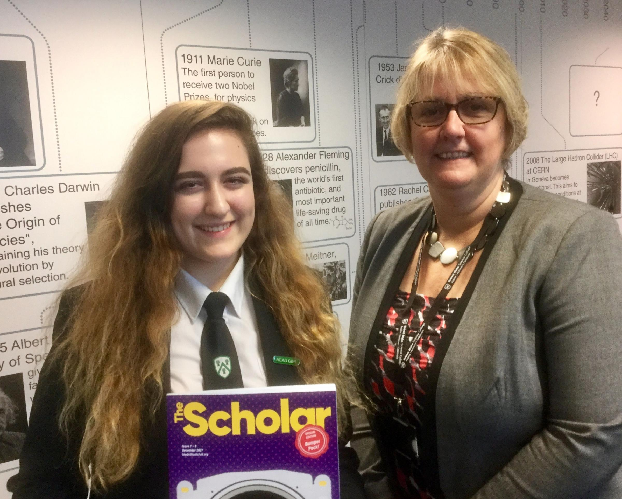 CLEVER CLOGS: Klaudia Redwelska with Robert Blake Science College head teacher Deb Loveridge
