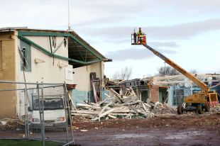 The ongoing demolition of Minehead's Aquasplash - just one of the latest casualties.