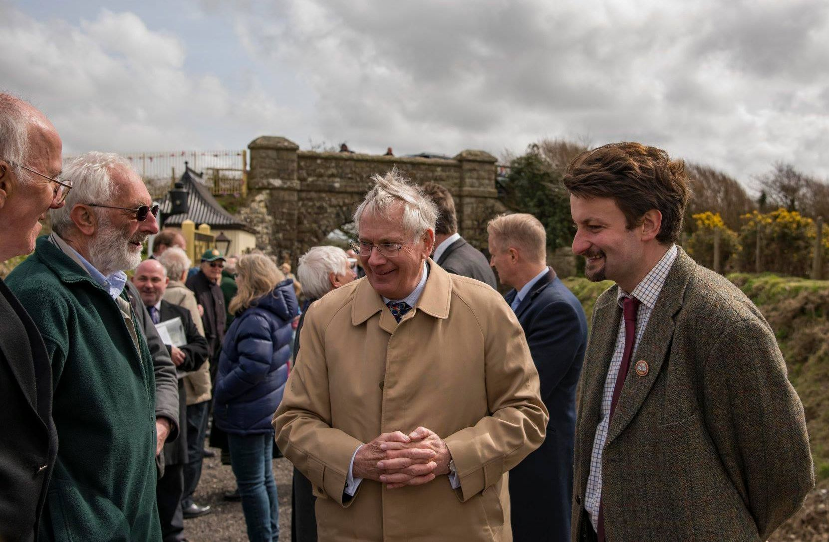 The Duke chats with Alan Burton, Malcolm Lightfoot and James Packman from the railway