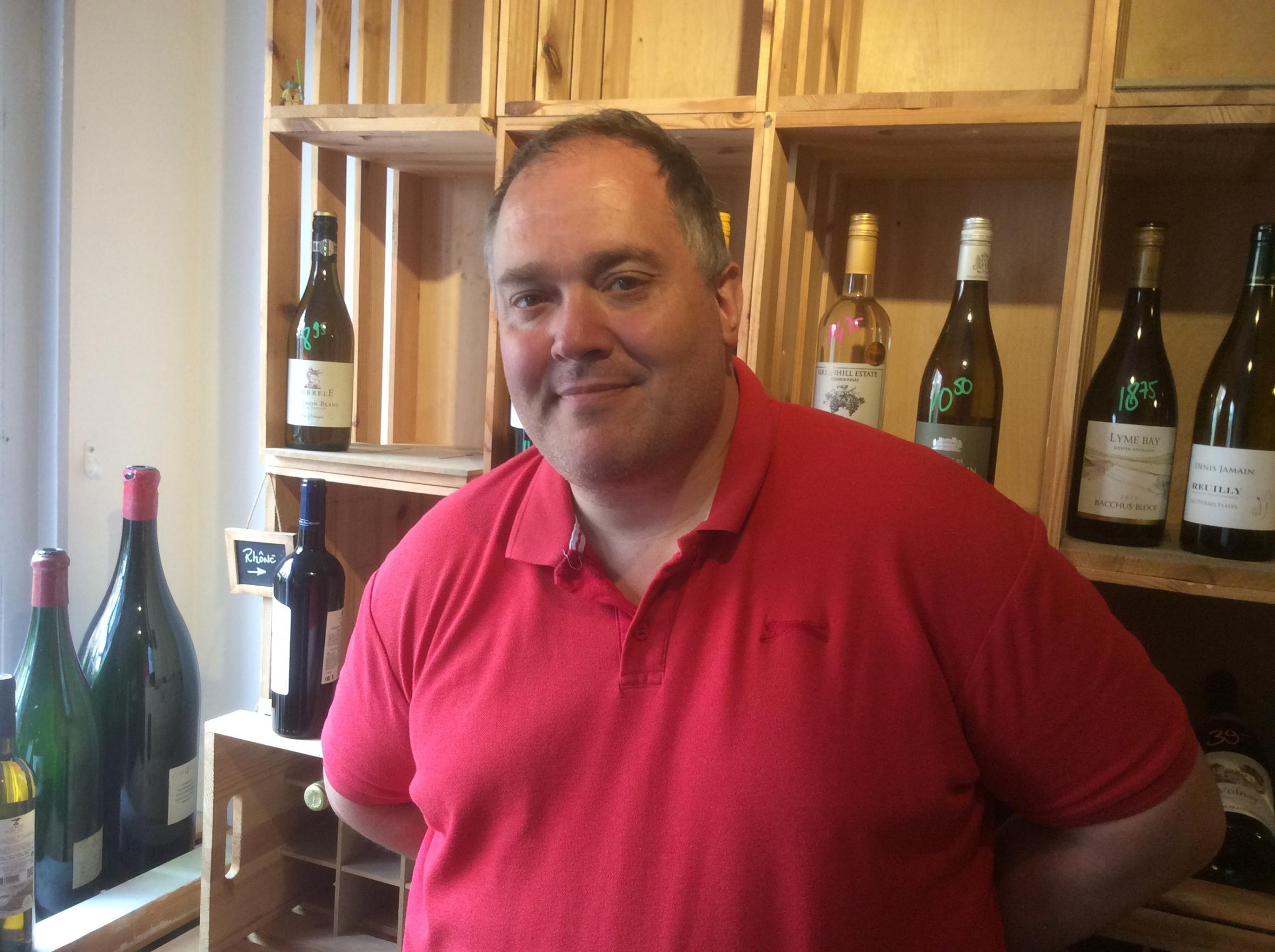 Philippe Messy who runs The Little Wine Shop in Bath Place, Taunton