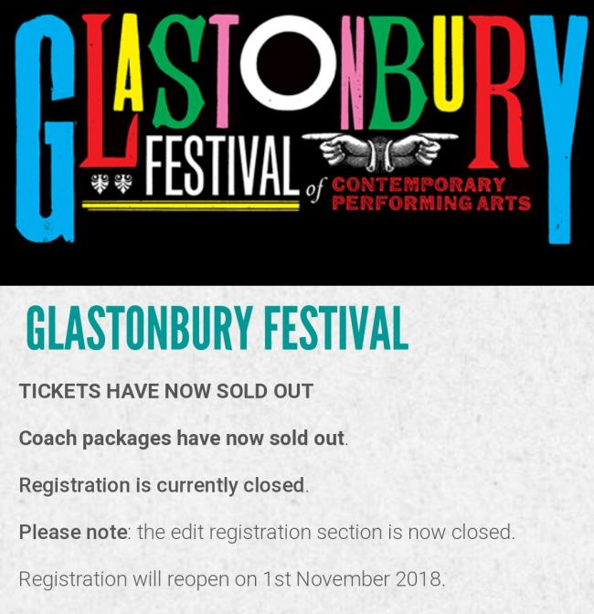 SOLD OUT: Glastonbury Festival tickets gone in 35 minutes