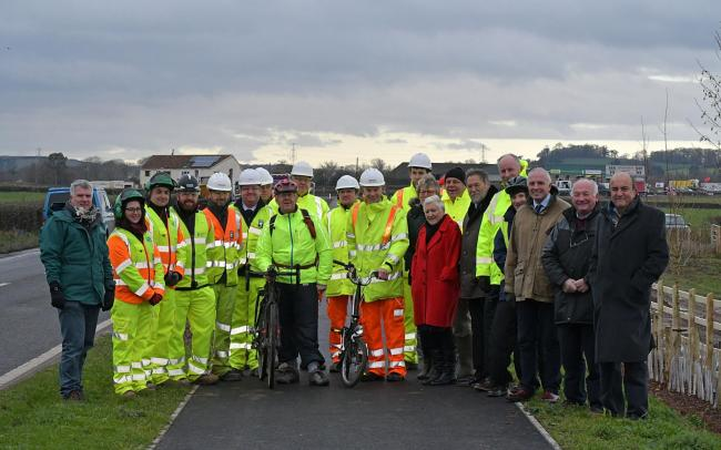 SCHEME:Councillors, representatives from EDF and contractors at the opening of the Cannington cycle route