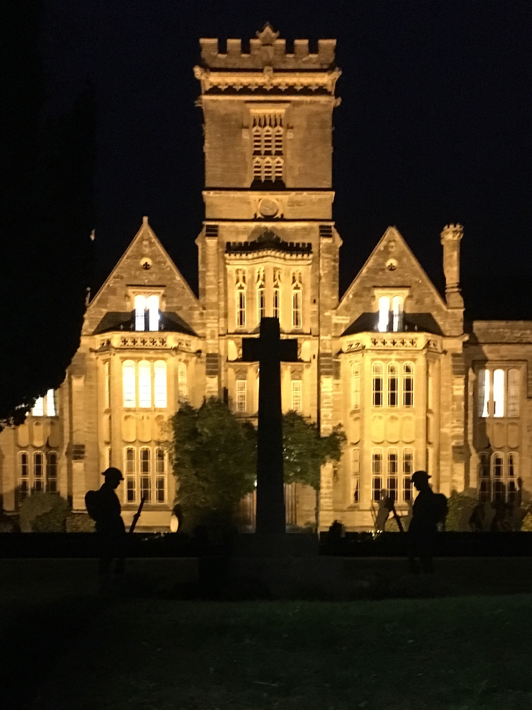 NEVER FORGOTTEN: A poignant nightime display at Queen's College, Taunton