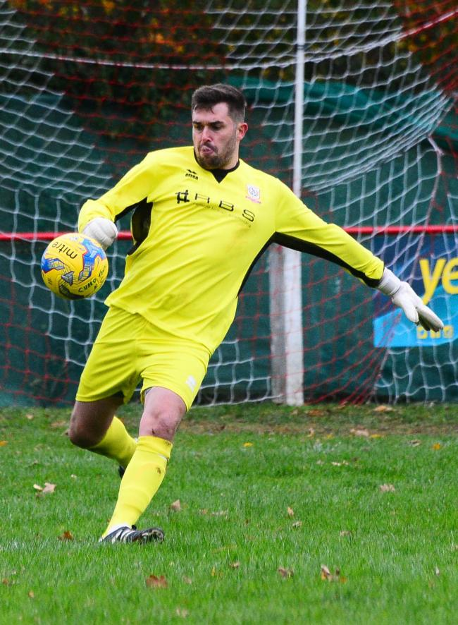 HELD: Chard Town goalkeeper Scott Wells-Burr was beaten by a second-half penalty as Welton Rovers claimed a draw. Pic: Steve Richardson