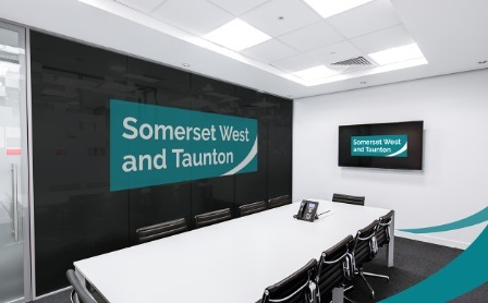 How The New Logo Will Look In Council Buildings. CREDIT: Somerset West And Taunton Council. Free for use for all BBC wire partners