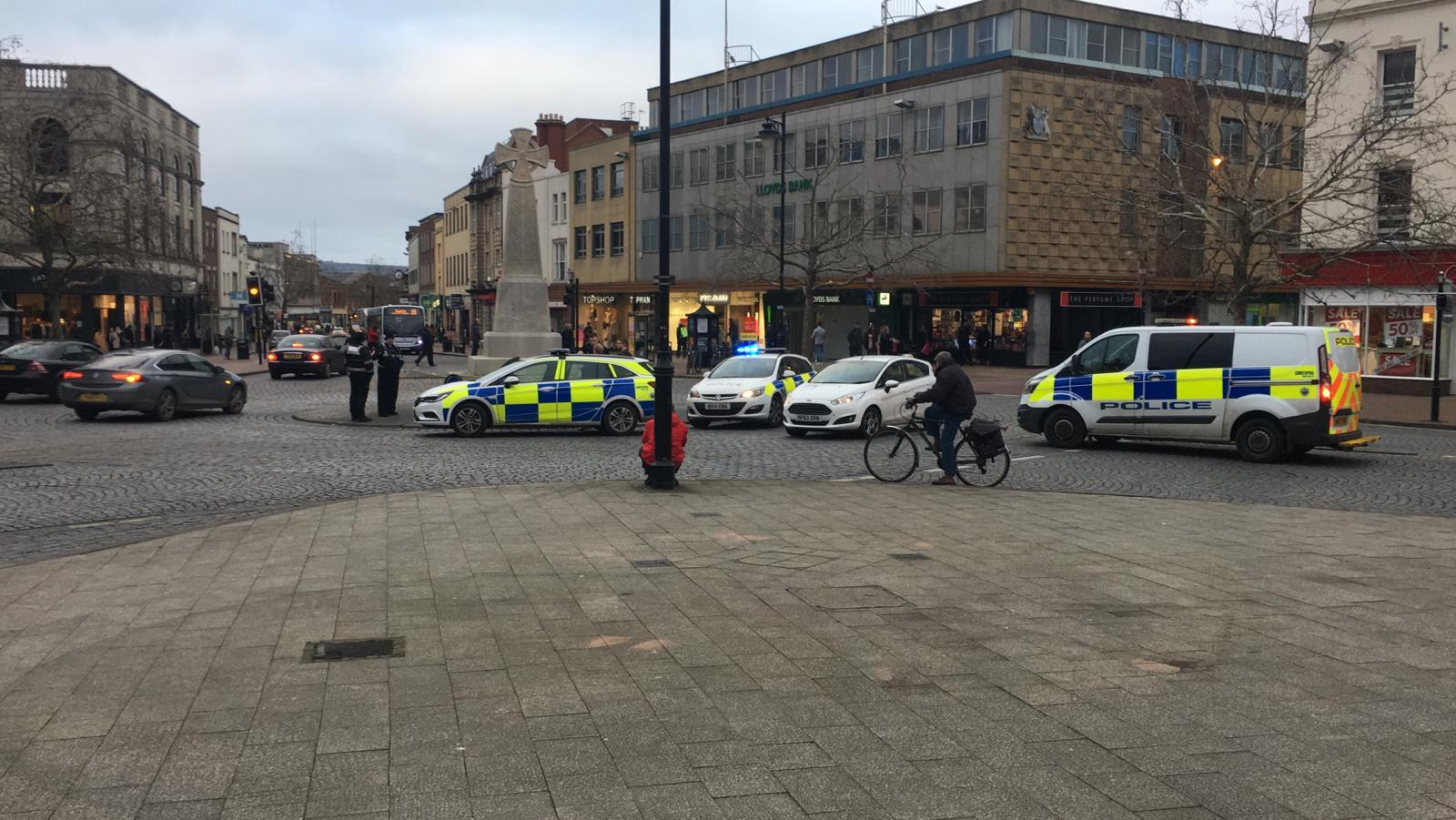 RESPONSE: Police at the roundabout in Taunton town centre