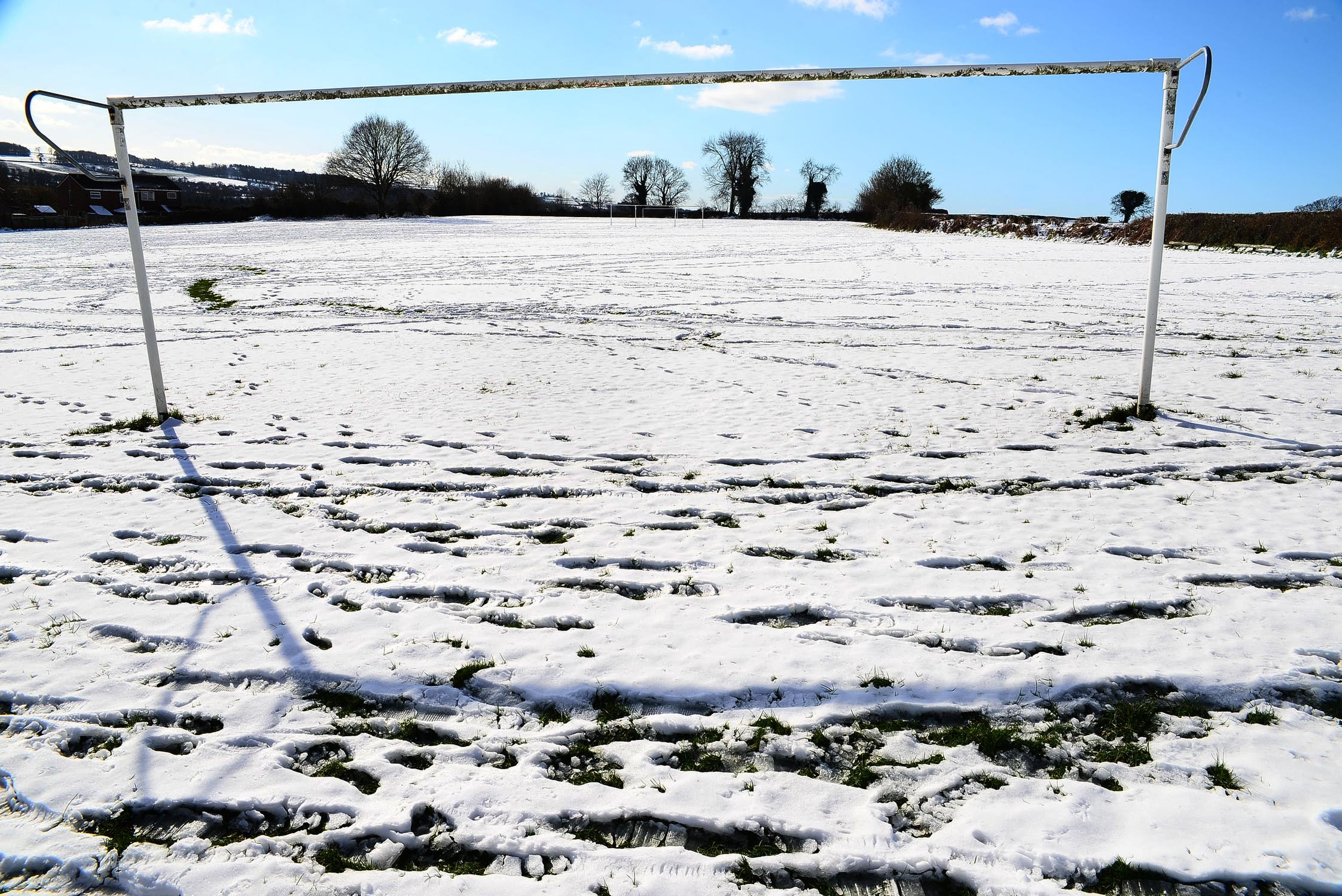 Winsham United pitch in the snow