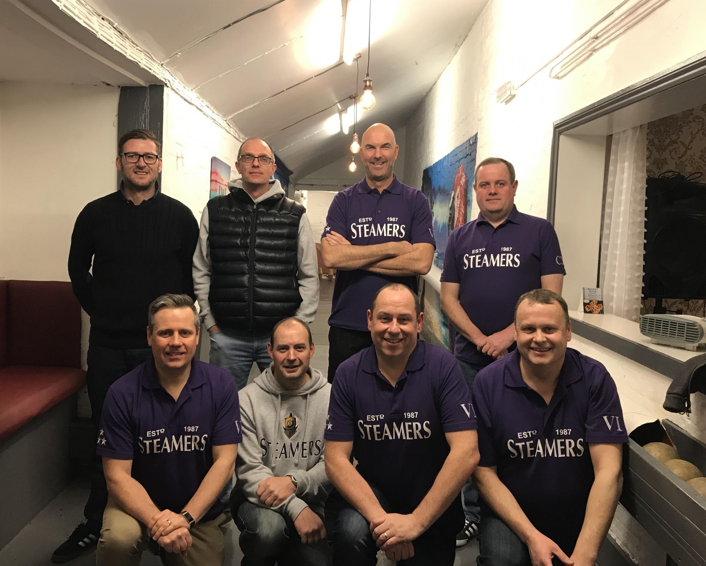 VICTORY: Steamers skittlers (from left): back - Stuart Pople, Ian Skinner, Tony Burrow, Richard Orledge; front - Chris Orledge, Graham Blake, Paul Cozens (capt), Mark Cozens. Not in picture: Craig Popham, Martin Withers, Lee Waldock, Kevin Watts.