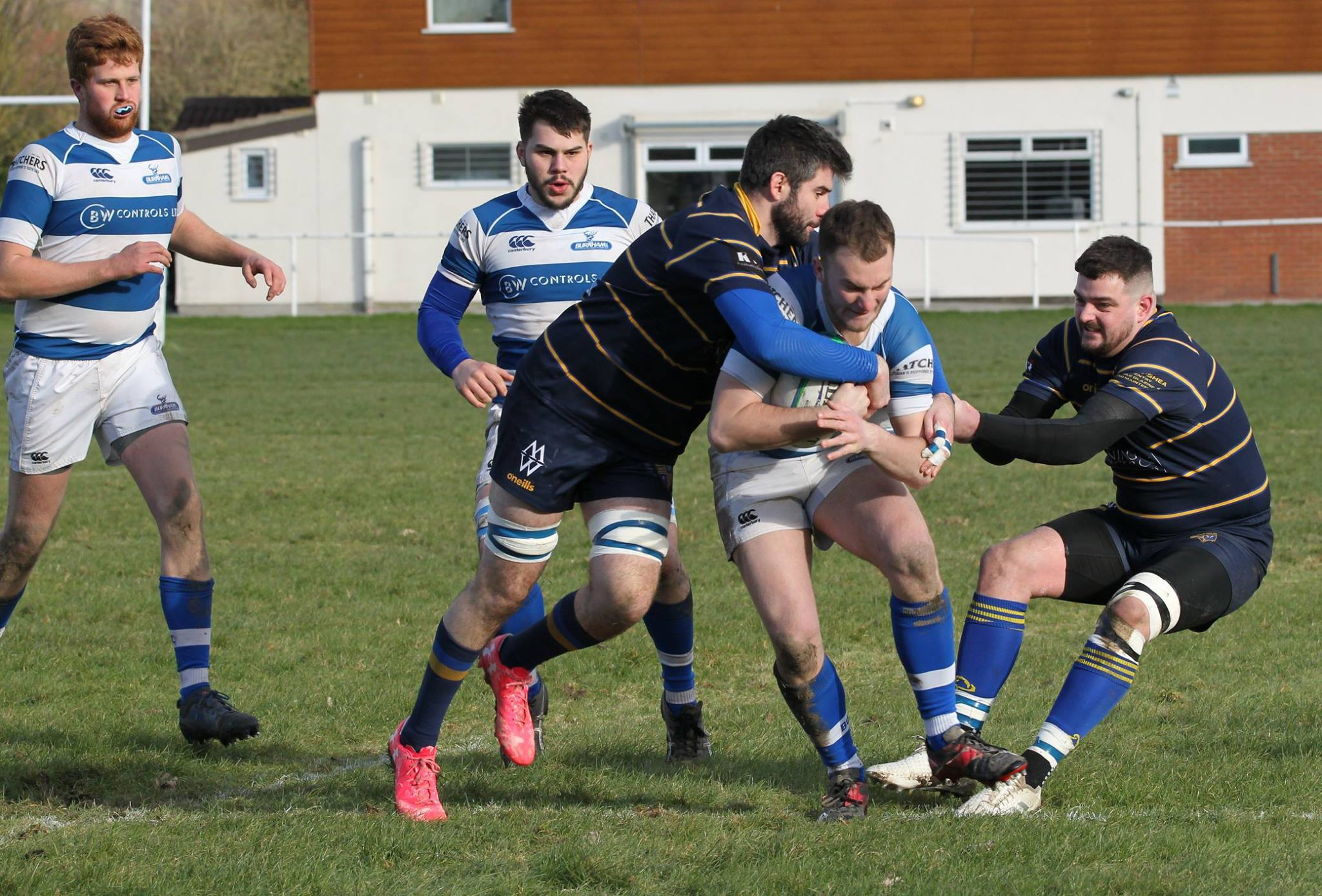 ACTION: Burnham-on-Sea take on Cheltenham Saracens. Pic: Mo Hunt