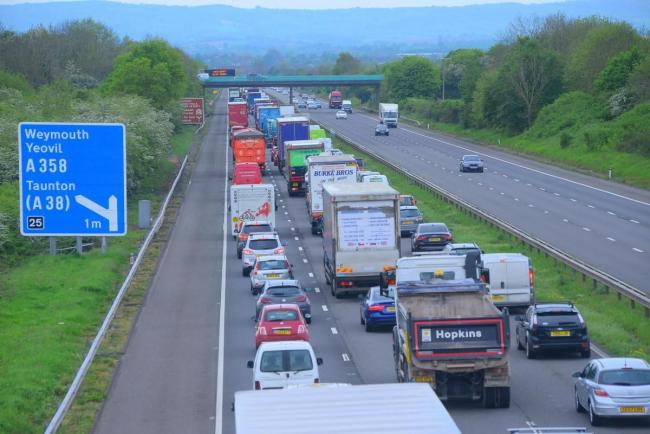 CONGESTION: Tailback on the M5 as traffic approaches J25