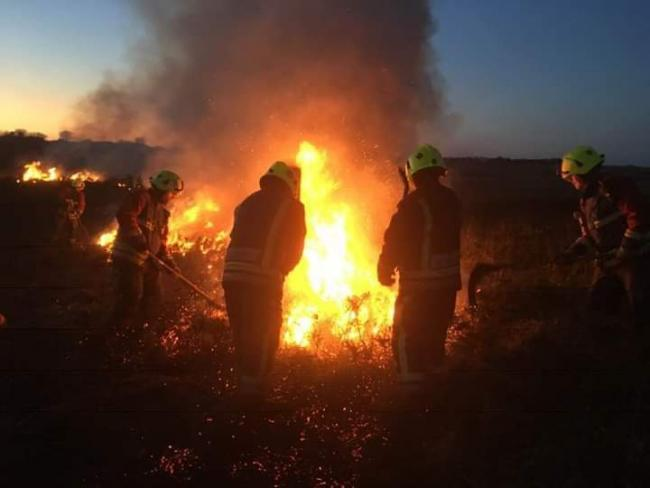 Fire crews tackled a second large fire behind Mullion Holiday Park. Photo: St Keverne Fire Station