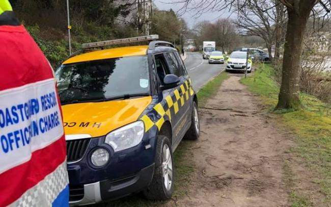 Coastguards from Falmouth supported police in Truro after a body was found near the river. Photo: Falmouth Coastguard Rescue Team
