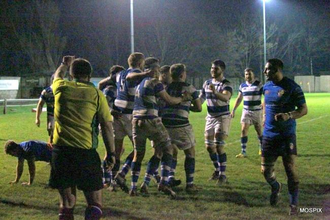 CELEBRATIONS: Burnham-on-Sea celebrate a try at Weston-super-Mare 2nds. Pic: Mo Hunt