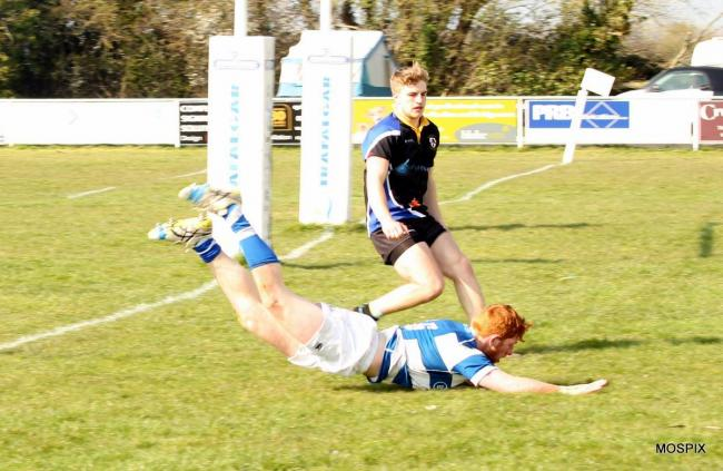 TRY TIME: Eoghan Westoff goes over. Pic: Mo Hunt