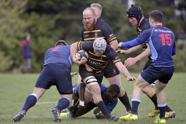 Grant Randlesome of Cornwall (Penryn) is tackled by Nathan Thomas of Kent (Old Elthamians), Picture by Simon Bryant for the Cornwall RFU