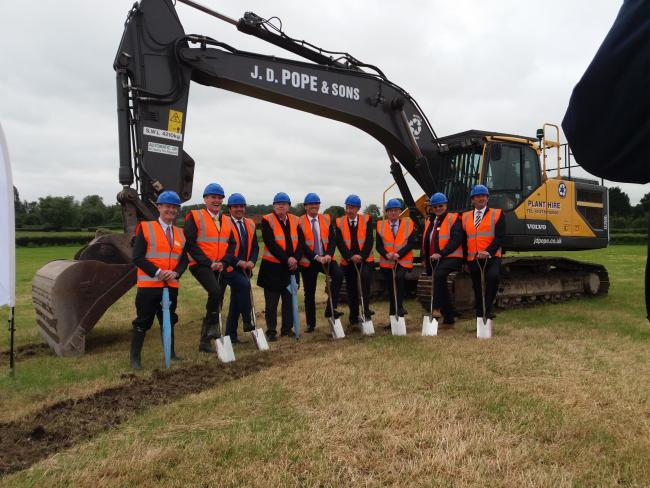 GROUNDBREAKING: Key stakeholders in the Gravity project don their hi-vis and hard hats for the ceremony